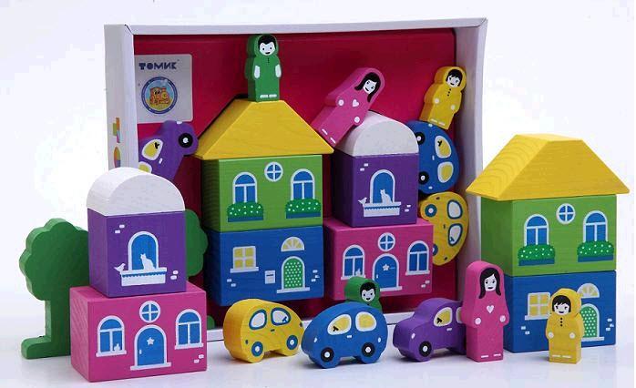 Конструктор: Цветной городок, розовый, 14 деталей - Томик