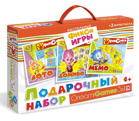 Подарочный набор игр Фиксики: Лото, Мемо, Домино + 3 пазла - Origami