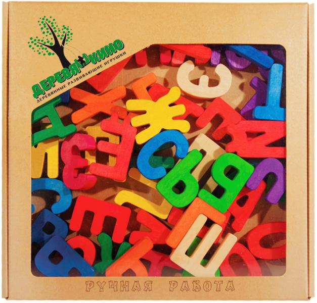 Буквы цветные ( в комплекте 52 буквы) - Деревяшкино