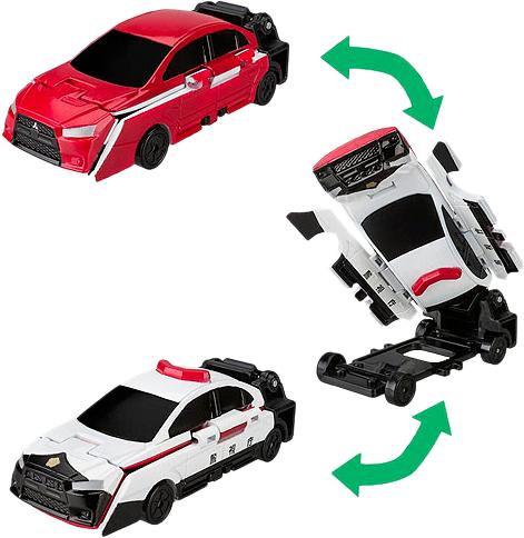 Voov: машинка-перевертыш Mitsubishu Lancer Evolution - полицейский патруль - Bandai