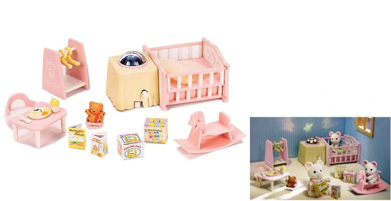 Набор Sylvanian Families: Детская комната с ночником, розовая, без фигурок