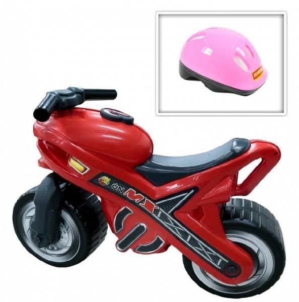 Каталка: мотоцикл МХ со шлемом (шлем розовый) - Полесье