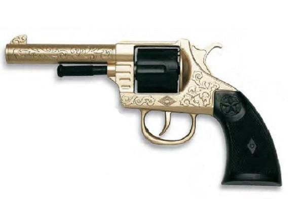 Игрушечный Револьвер Oregon Metall Gold Western (12-зярядные круговые пистоны) - Edison Giocattoli
