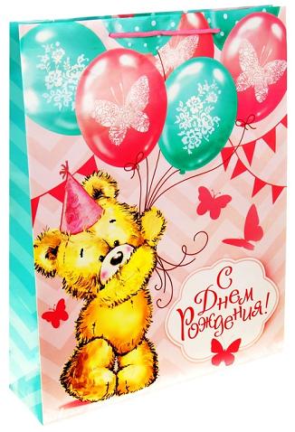 Пакет Мишка с шарами 31х40 см