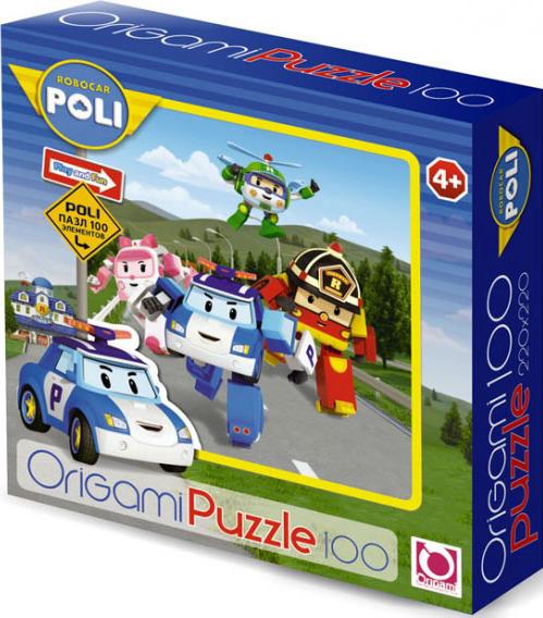 Пазл: Робокар. Все персонажи на фоне холмов, 100 элементов – Origami Puzzle