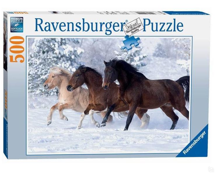 Пазл: Галопом по снегу, 500 элементов - Ravensburger