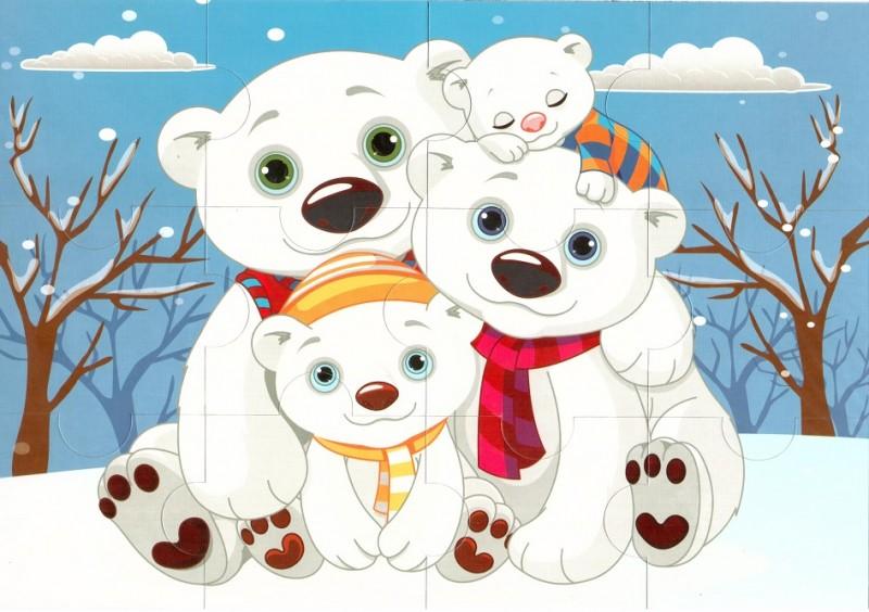 Пазл магнитный: Белые медведи, 12 деталей – Квадра
