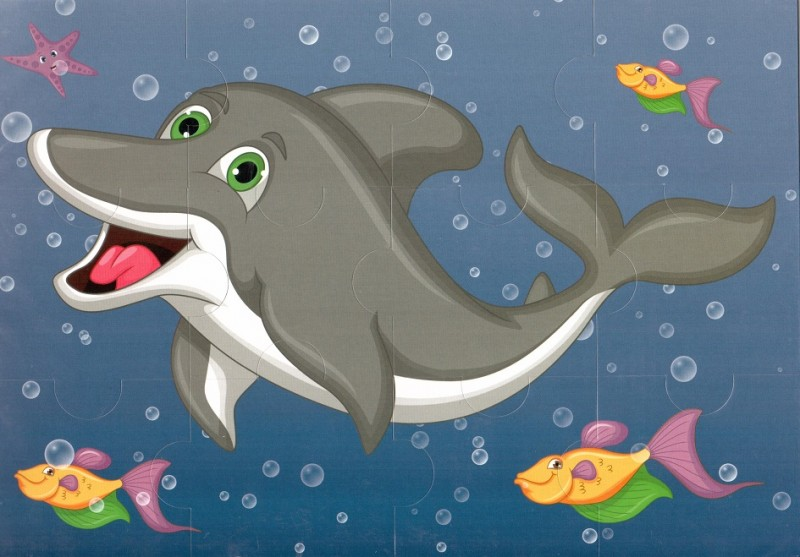Пазл магнитный: Дельфин, 12 деталей – Квадра