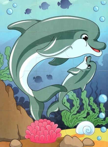 Пазл магнитный: Два дельфина, 12 деталей – Квадра