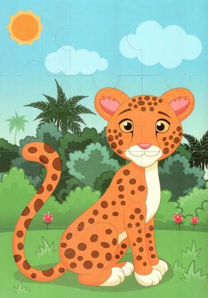 Пазл магнитный: Леопард, 12 деталей – Квадра