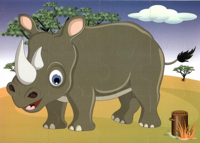 Пазл магнитный: Носорог, 12 деталей – Квадра