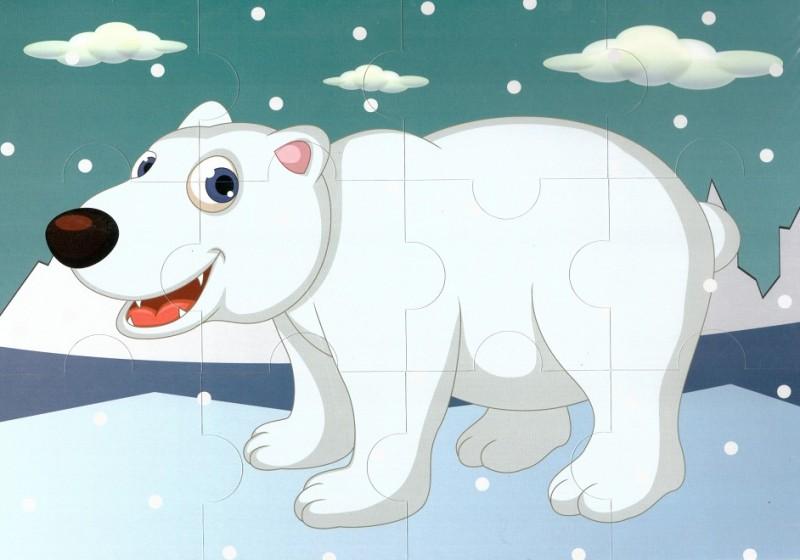 Пазл магнитный: Белый медведь, 12 деталей – Квадра