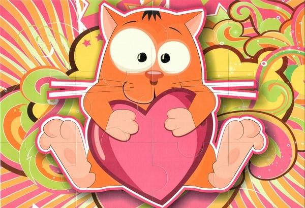 Пазл магнитный Рыжий кот с сердечком, 12 деталей – Квадра