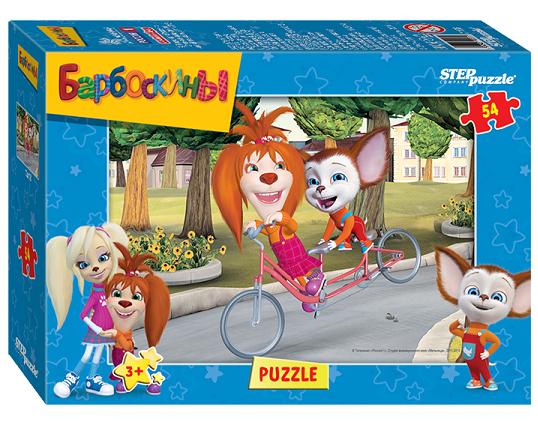 Пазл: Барбоскины. Лиза и Малыш на велосипеде, 54 элемента - Step Puzzle
