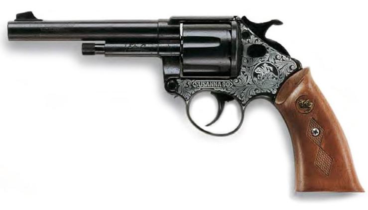 Игрушечный Пистолет Susanna Metall Western (12-зарядные круговые пистоны) - Edison Giocattoli