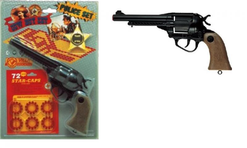 Игрушечный Револьвер Невада, с пистонами и звездой шурифа - Edison Giocattoli