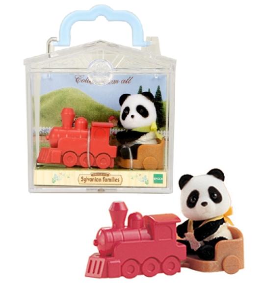 Фигурка Sylvanian Families: Младенец в пластиковой коробке 3350 - Панда на каталке-паровозике