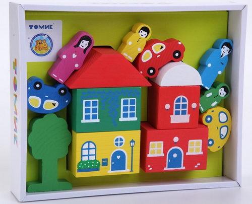 Конструктор: Цветной городок, зеленый, 14 деталей - Томик