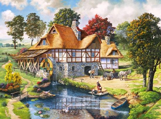 Пазл: Водяная мельница, 2000 элементов – Castorland