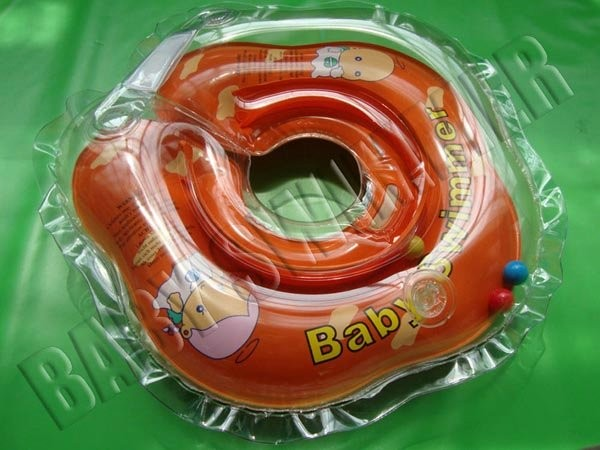 Круг для купания новорожденных оранжевый, полуцветный с погремушкой - Baby Swimmer
