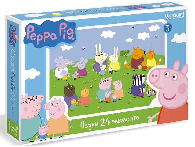01570 Пазл Свинка Пеппа Дружные семьи 24 эл.- Origami Puzzle
