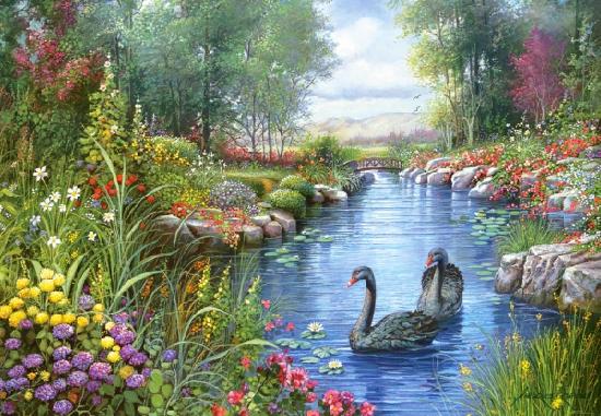 Пазл: Черные Лебеди, 1500 элементов – Castorland
