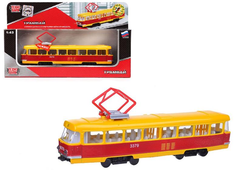 Игрушечный Трамвай 28 см, инерционный, свет и звук - ТехноПарк