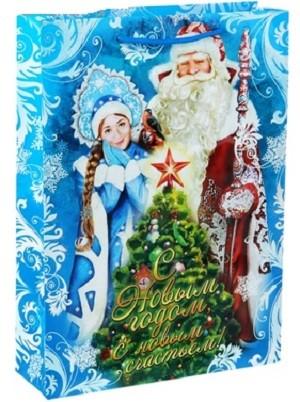 Пакет Дед Мороз и Снегурочка 32х44,5 см