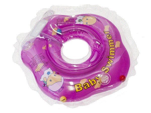 Круг для купания новорожденных фиолетовый, полуцветный с погремушкой - Baby Swimmer