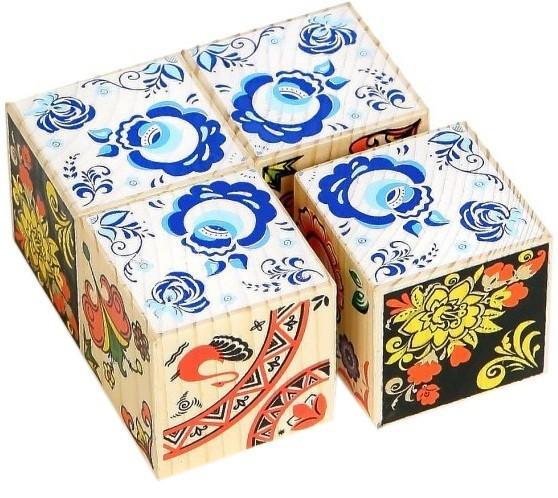 Кубики: Русские узоры, 4 штуки - Томик
