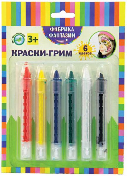 Краски-грим в карандаше, 6 цветов - Фабрика фантазий