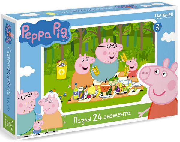 Пазл макси: Свинка Пеппа. Пикник на природе, 24 элемента - Origami Puzzle