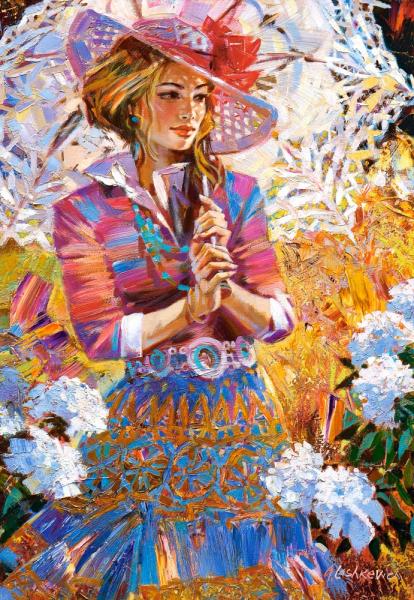 Пазл: Девушка с зонтом, 1500 элементов - Castorland