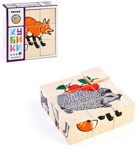 Кубики: Животные леса, 9 штук - Томик