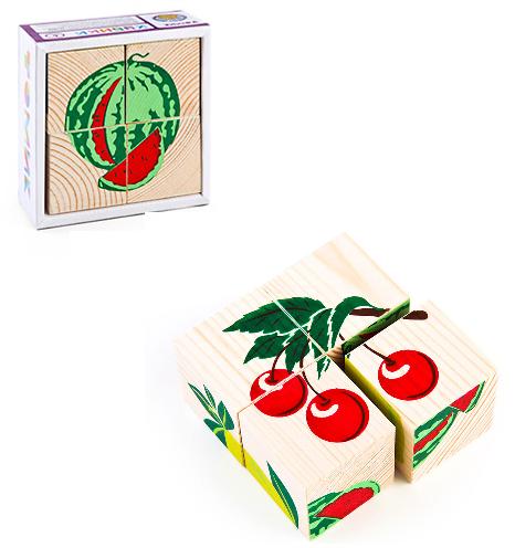 Кубики: Фрукты-ягоды, 4 штуки - Томик