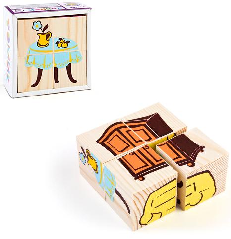 Кубики: Мебель, 4 штуки - Томик