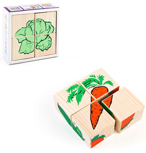 Кубики: Овощи, 4 штуки - Томик