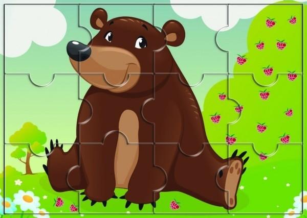 Пазл магнитный: Медведь, 12 деталей - Квадра
