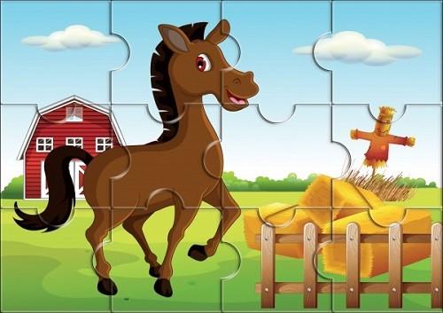 Пазл магнитный: Лошадь, 12 деталей - Квадра
