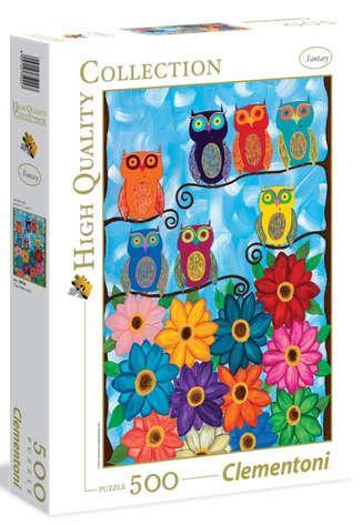 Пазл: Разноцветные совушки, 500 элементов - Clementoni