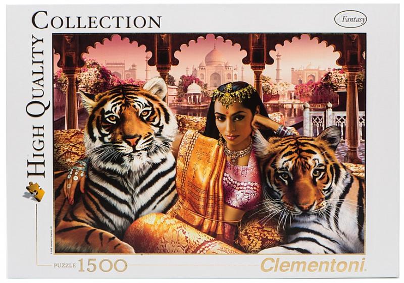 Пазл: Индийская принцесса с тиграми, 1500 элементов - Clementoni