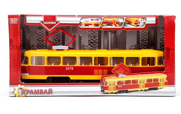 Игрушечный Трамвай 23 см, свет+звук - Технопарк