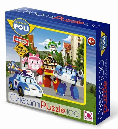 Пазл: Робокар. Все персонажи на фоне города, 100 элементов - Origami Puzzle