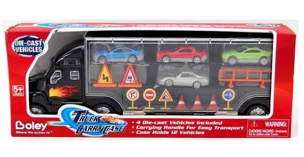 Игрушечный грузовик-перевозчик с 4 машинками - Boley