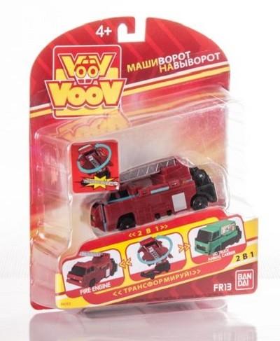 VooV: машинка-перевертыш Пожарная - Грузовик для перевозки животных - Bandai