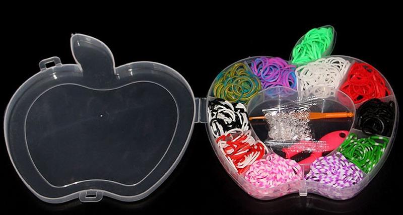 Набор резинок для плетения браслетов в контейнере Яблоко