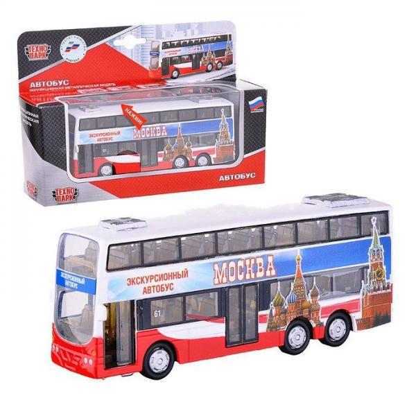 Автобус двухэтажный (открываются двери,свет,звук) 16см. - Технопарк