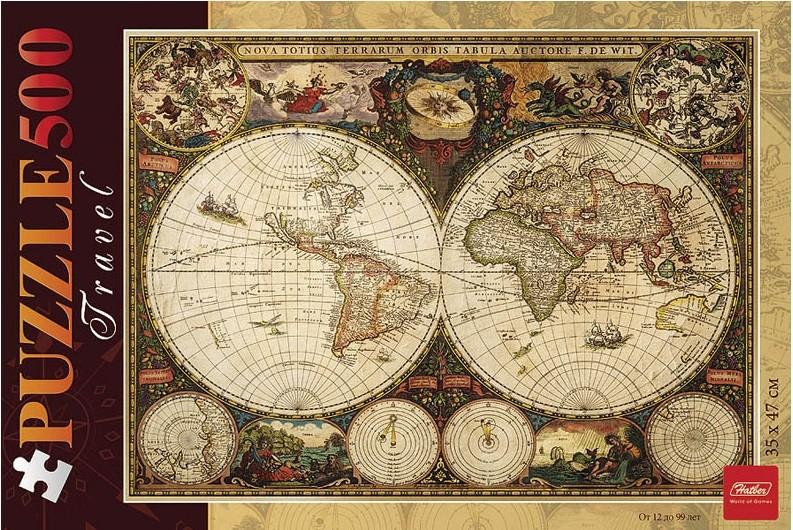 Пазл: Старинная карта 1660 года, 500 элементов – Hatber