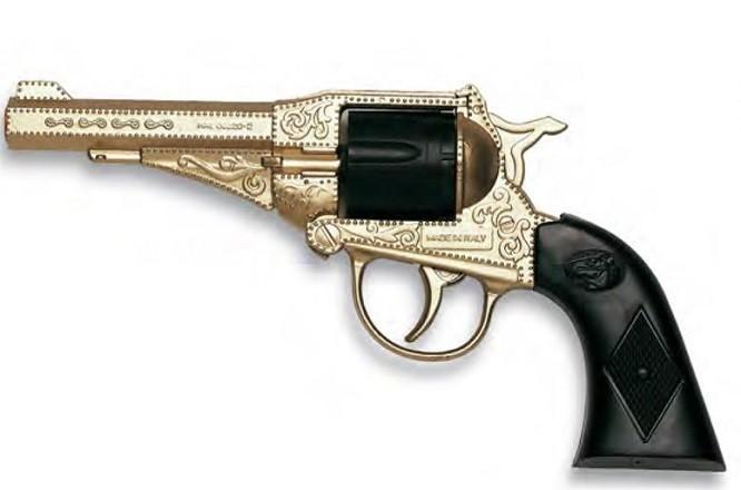 Игрушечный Револьвер Sterling Metall Gold (8-зарядные круговые пистоны) - Edison Giocattoli