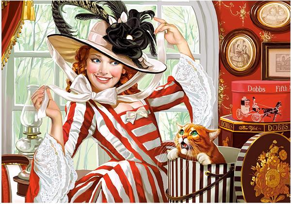 Пазл: Леди в шляпе, 500 элементов - Castorland